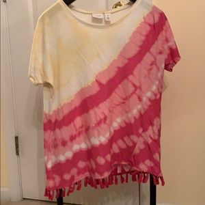 Yellow and pink tie die t-shirt.